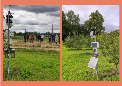 ATLAS weather station and sensors set in the field of L.Mucenieces farm close to plots of intercropping demonstrations. Photos during field day on September 6, 2021