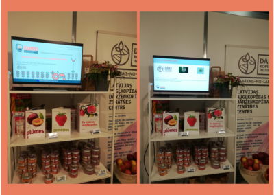 """Part of LatHort stand and slide show during the biggest in the Baltics food industry fair """"Riga Food"""" that yearly outlines the trends of the food industry development and highlights novelties"""